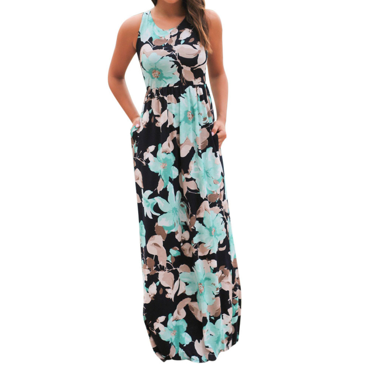 b105014c8c3c Summer Casual Clothing Sexy Womens Sleeveless Beach Long Dress Elegant Ladies  Boho Floral Printed Maxi Party ...