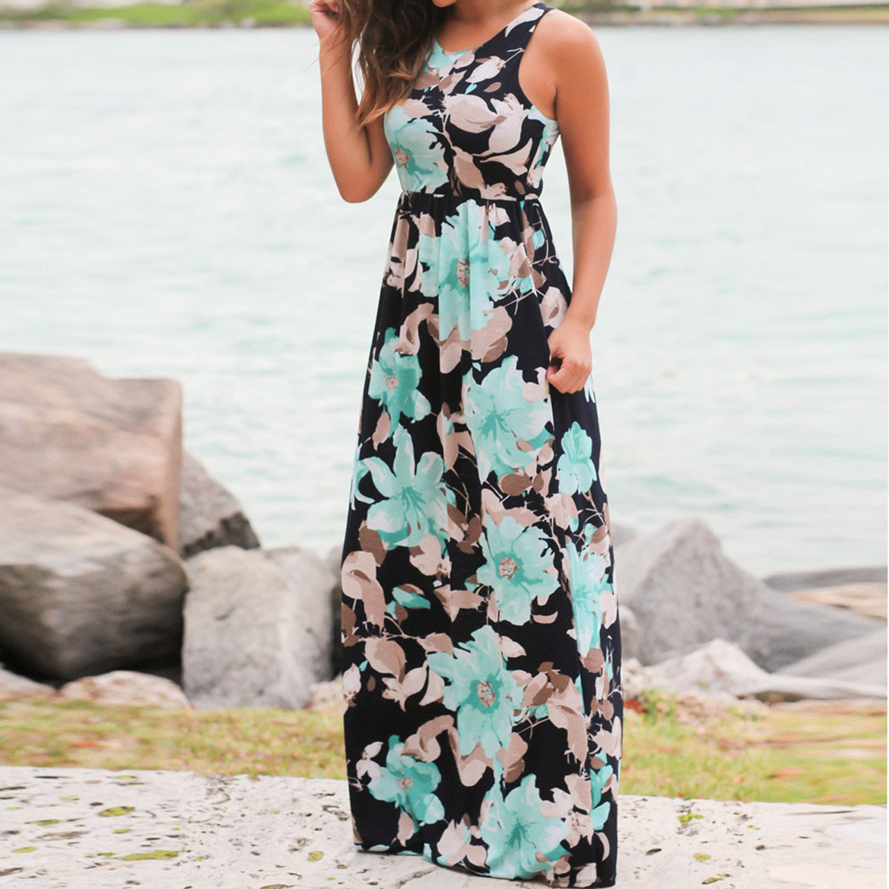 63ea9695c5cb ... Summer Casual Clothing Sexy Womens Sleeveless Beach Long Dress Elegant Ladies  Boho Floral Printed Maxi Party ...