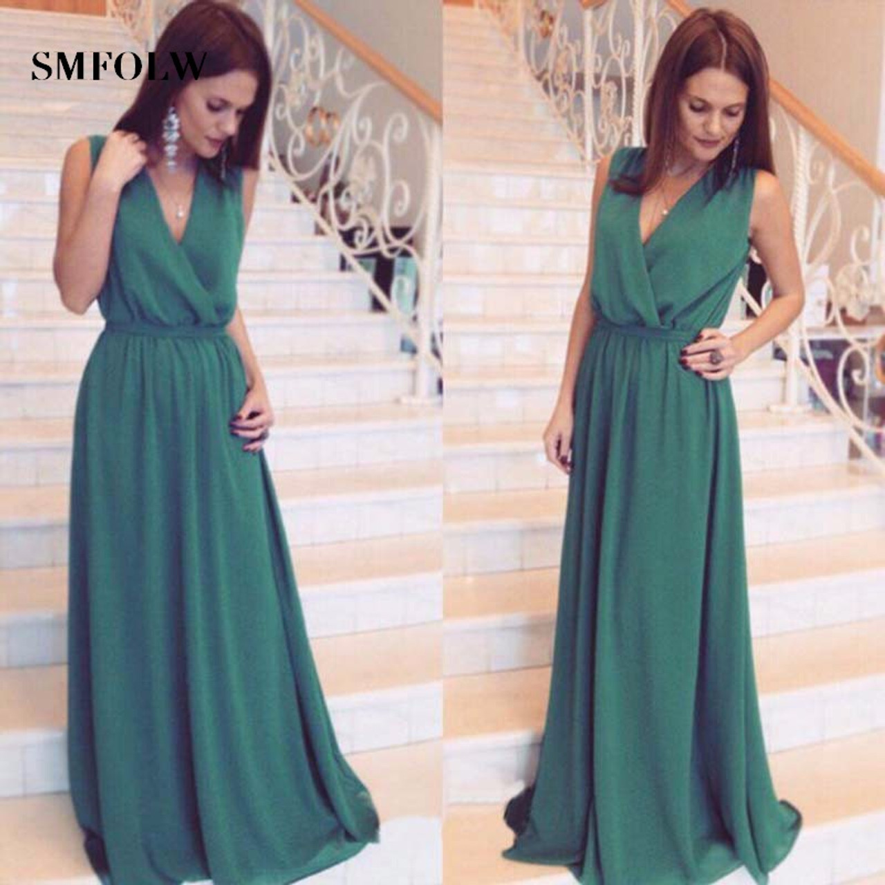 52b82e3676 ... SMFOLW Seven color chiffon Women Summer Beach party Dress fashion high  waist Long Maxi sundress sexy