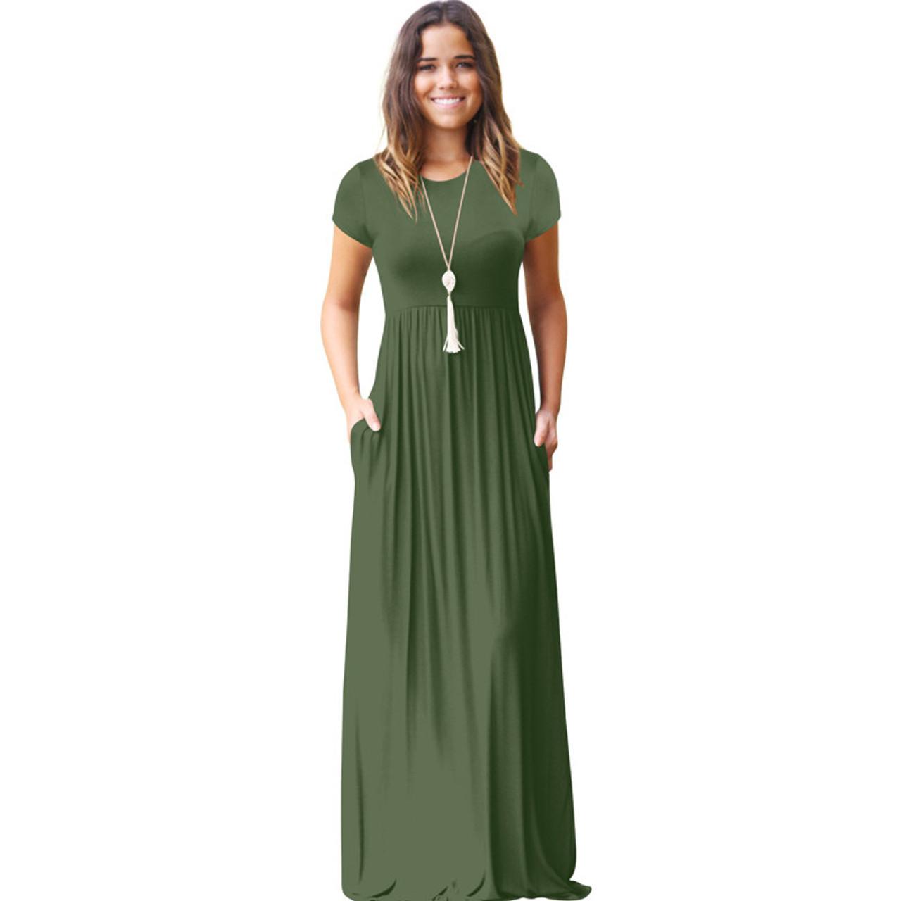 Jurk Maxi.Cinq Diamants Women Long Dress Summer Maxi Dress Pocket Lange Jurk