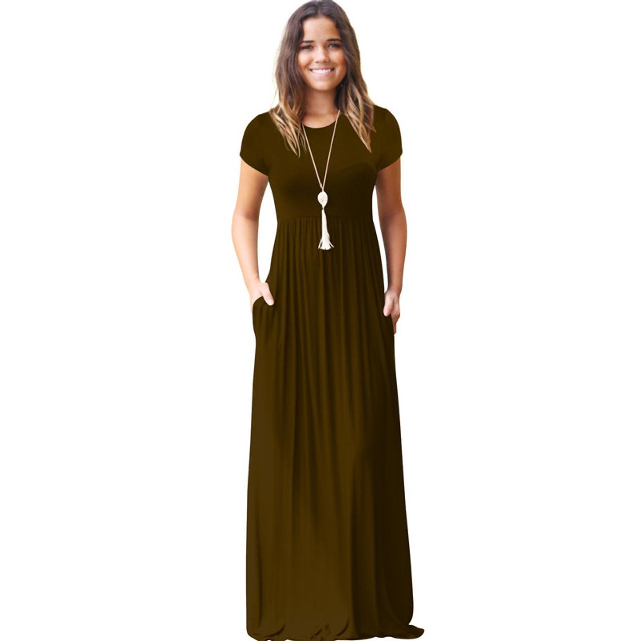233079b37f ... CINQ DIAMANTS Women Long Dress Summer Maxi Dress Pocket Lange Jurk  Femme Longue Robe Vestido Longo ...