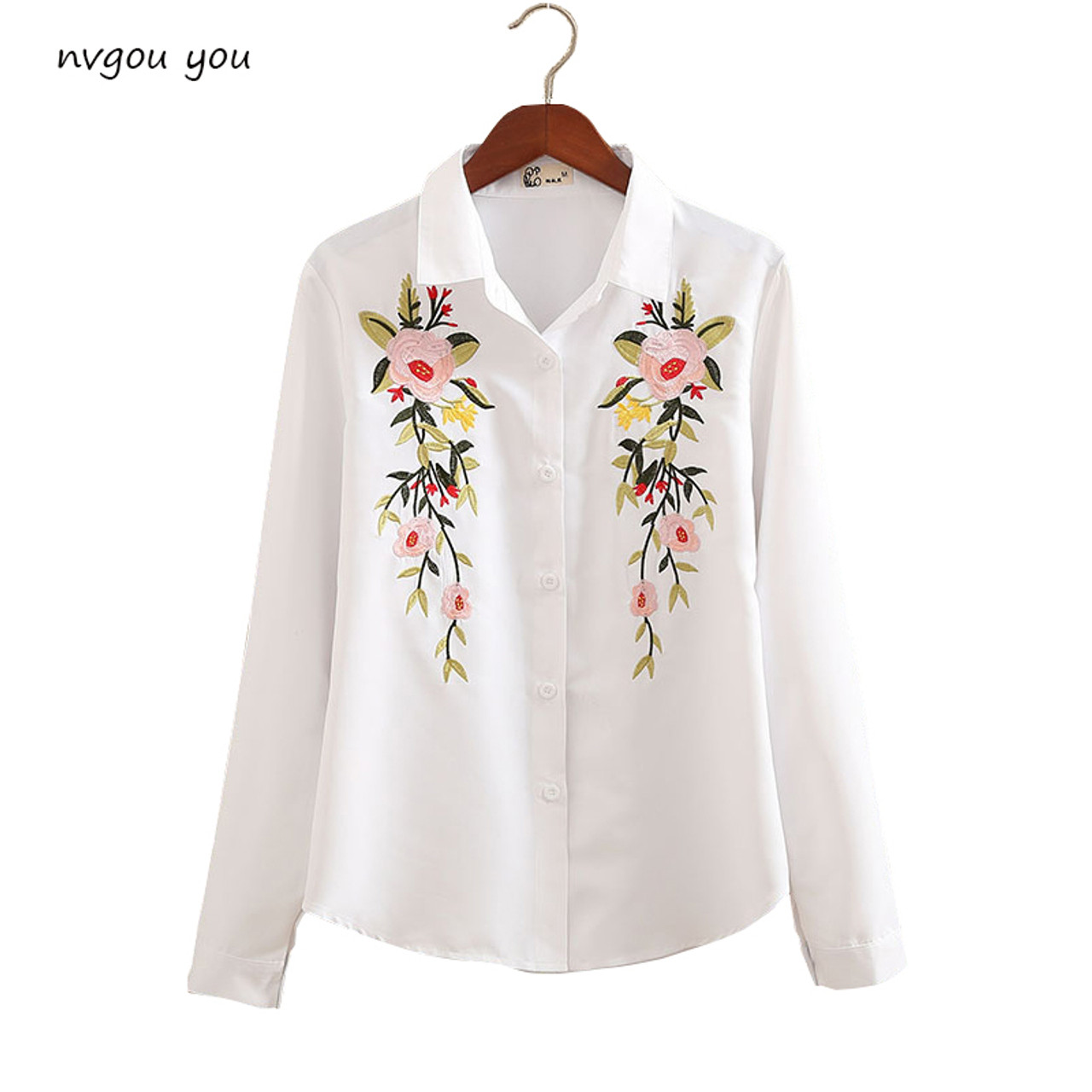 7ec76a7d61b20 nvyou gou 2018 Floral Embroidered Blouse Shirt Women Slim White Tops Long  Sleeve Blouses Woman Office ...