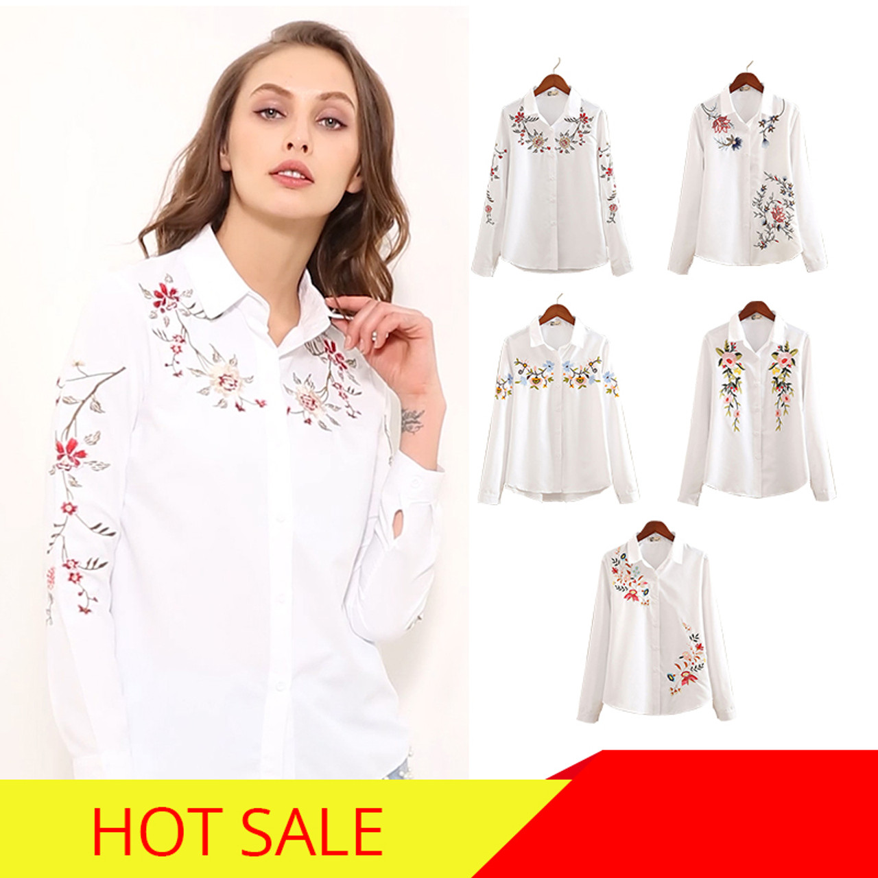 6c03ba284f2 ... nvyou gou 2018 Floral Embroidered Blouse Shirt Women Slim White Tops  Long Sleeve Blouses Woman Office ...