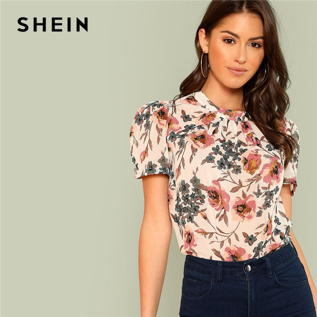 51f7854d10 SHEIN Prairie Chic Boho Multicolor Floral Print Gathered Neck Puff Sleeve  Womens Tops and Blouses for ...
