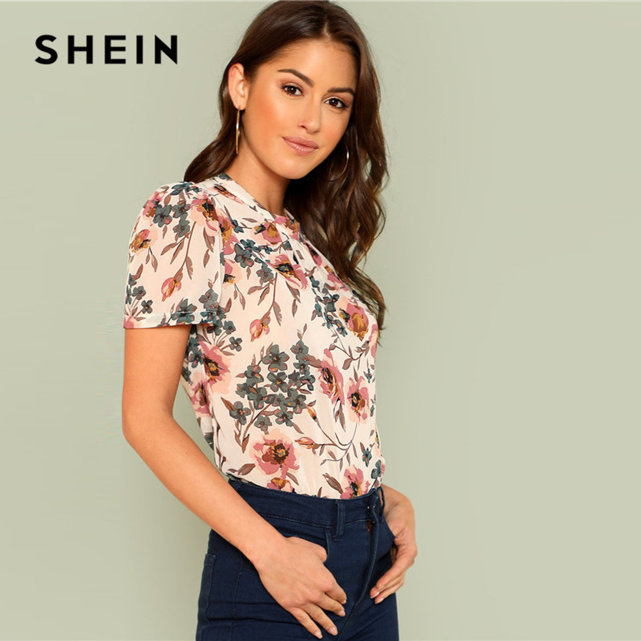 d3b1c30ce7 ... SHEIN Prairie Chic Boho Multicolor Floral Print Gathered Neck Puff Sleeve  Womens Tops and Blouses for ...