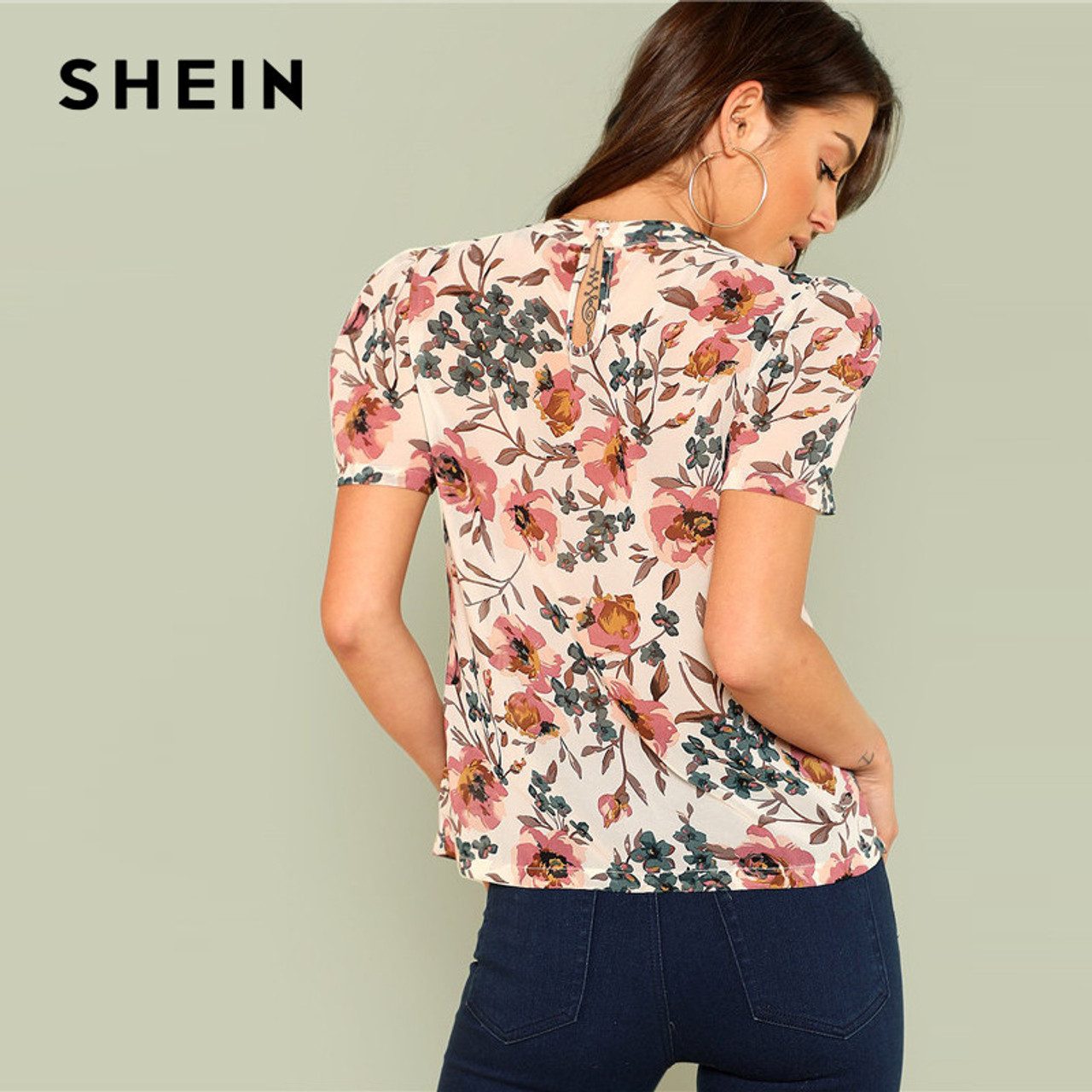 299521574b ... SHEIN Prairie Chic Boho Multicolor Floral Print Gathered Neck Puff  Sleeve Womens Tops and Blouses for ...
