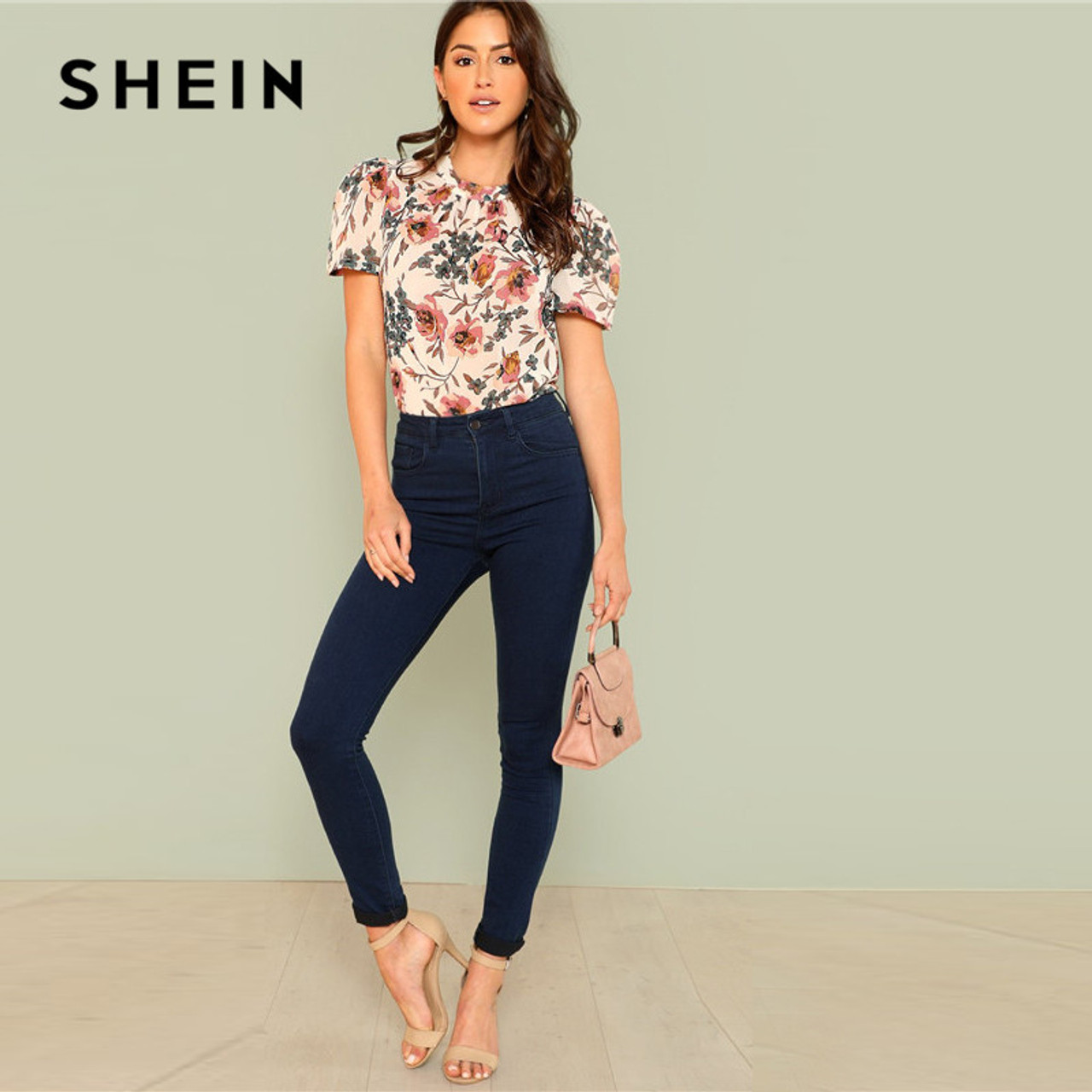 1c2c5bae32 ... SHEIN Prairie Chic Boho Multicolor Floral Print Gathered Neck Puff  Sleeve Womens Tops and Blouses for ...