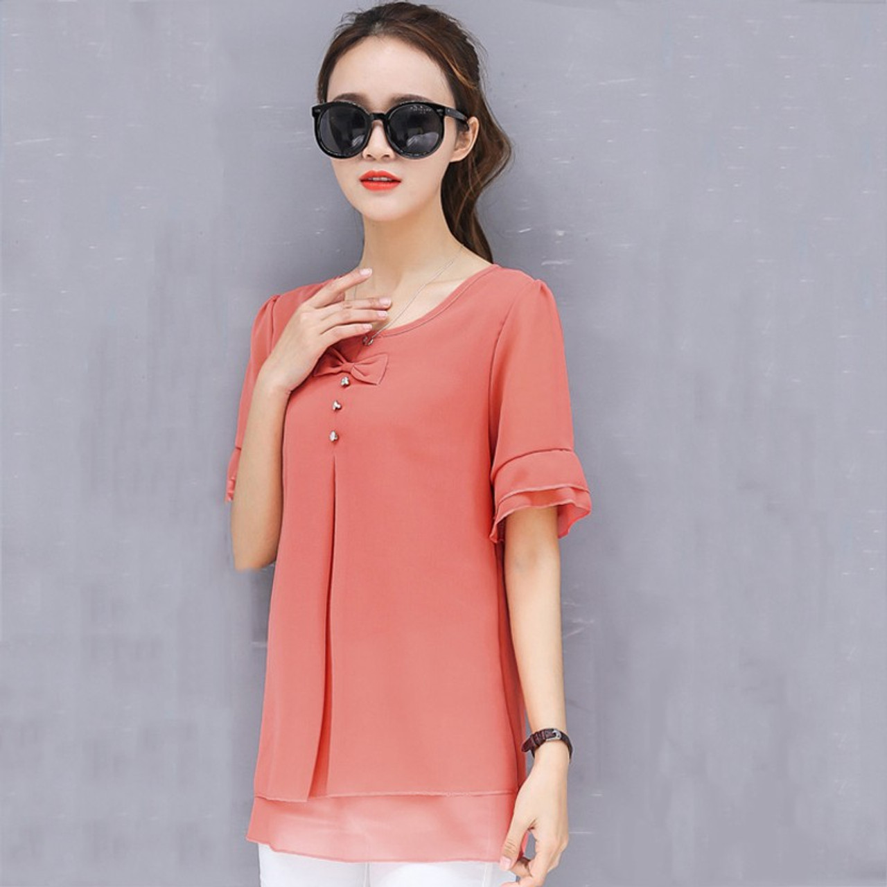 f7d6eba7e69 ... 2018 New Arrival Summer Tops Women Korean Fashion Solid Chiffon Blouse  Mujer Short Sleeve Plus Size ...