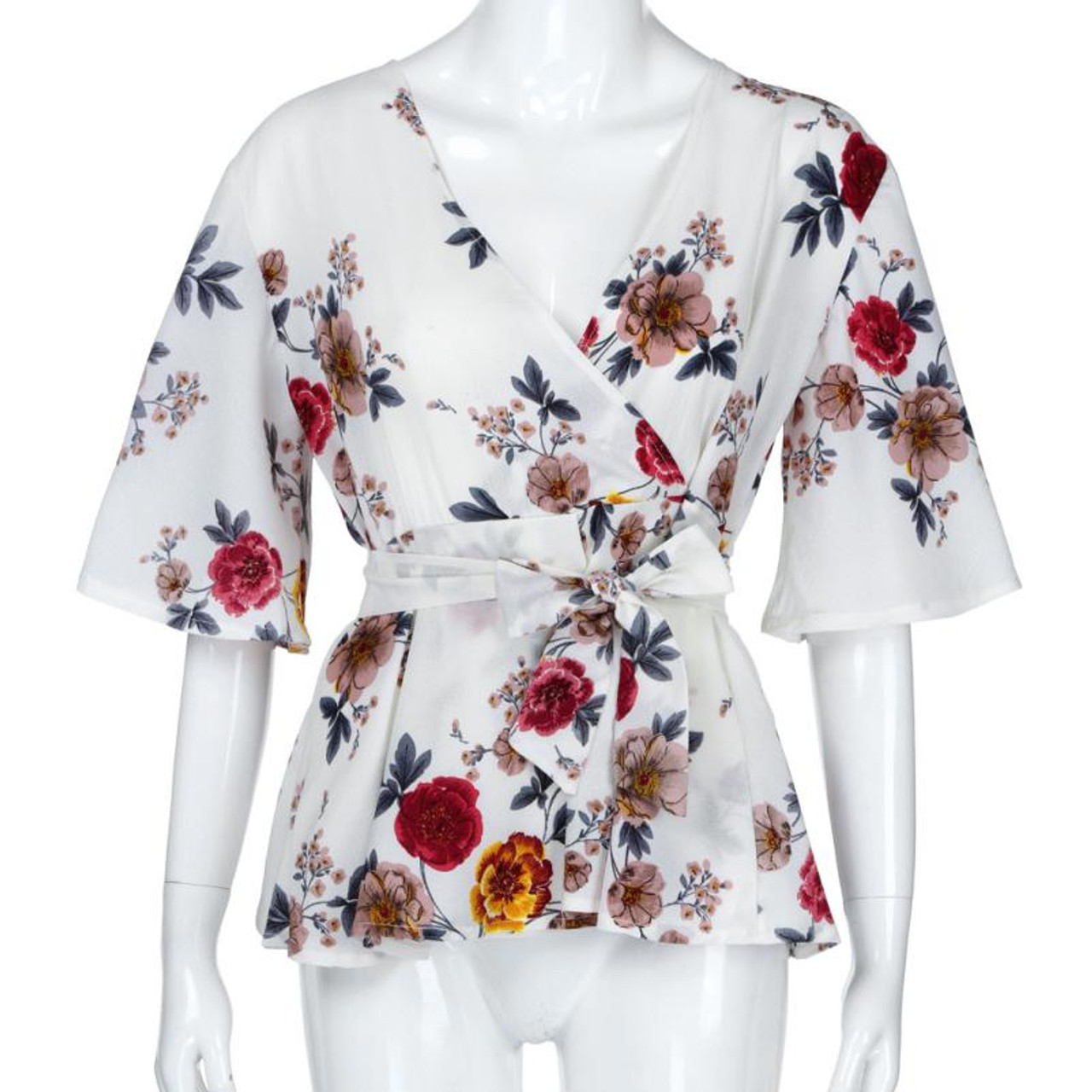 74e9a2ba6bfa6 ... Feitong Womens Blouse Plus Size Sexy V Neck Floral Print Flare Sleeve Belted  Surplice Peplum Tops ...