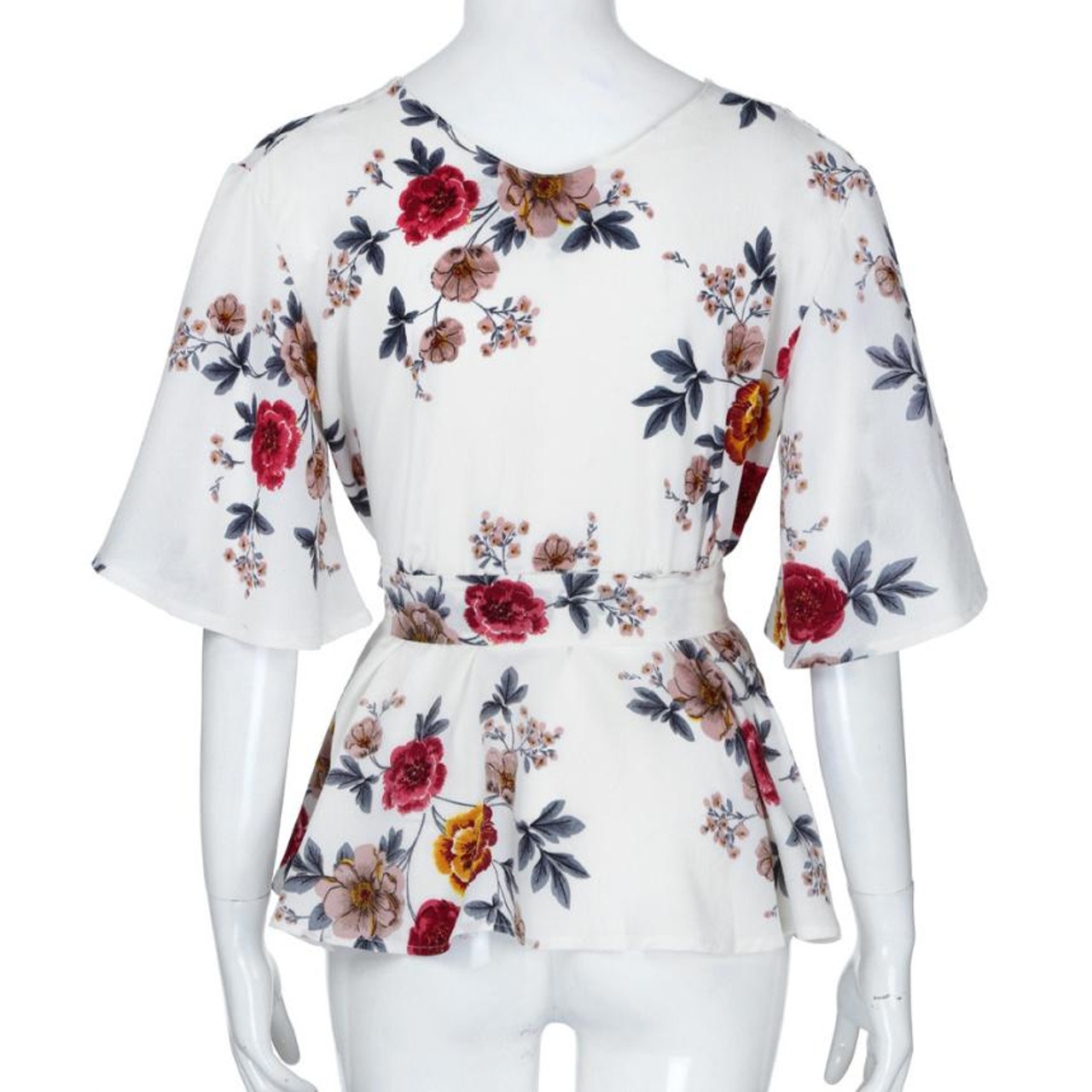 fd7cb4500e1 ... Feitong Womens Blouse Plus Size Sexy V Neck Floral Print Flare Sleeve Belted  Surplice Peplum Tops ...