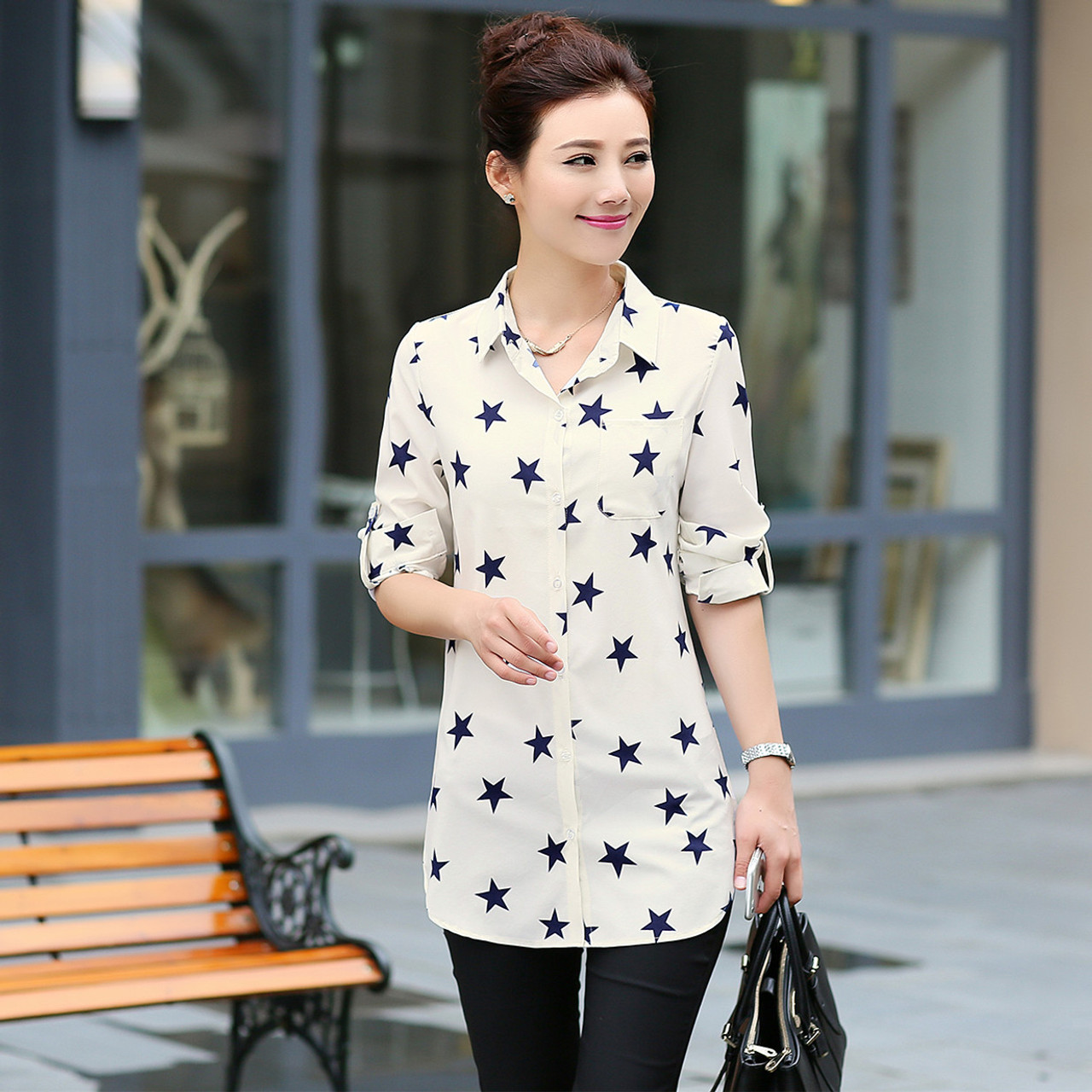 8b0f258dad9 ... New Fashion Print Blouses Women Long Style Shirts 2018 Cotton Ladies  Tops Long Sleeve Blusas Femininas ...