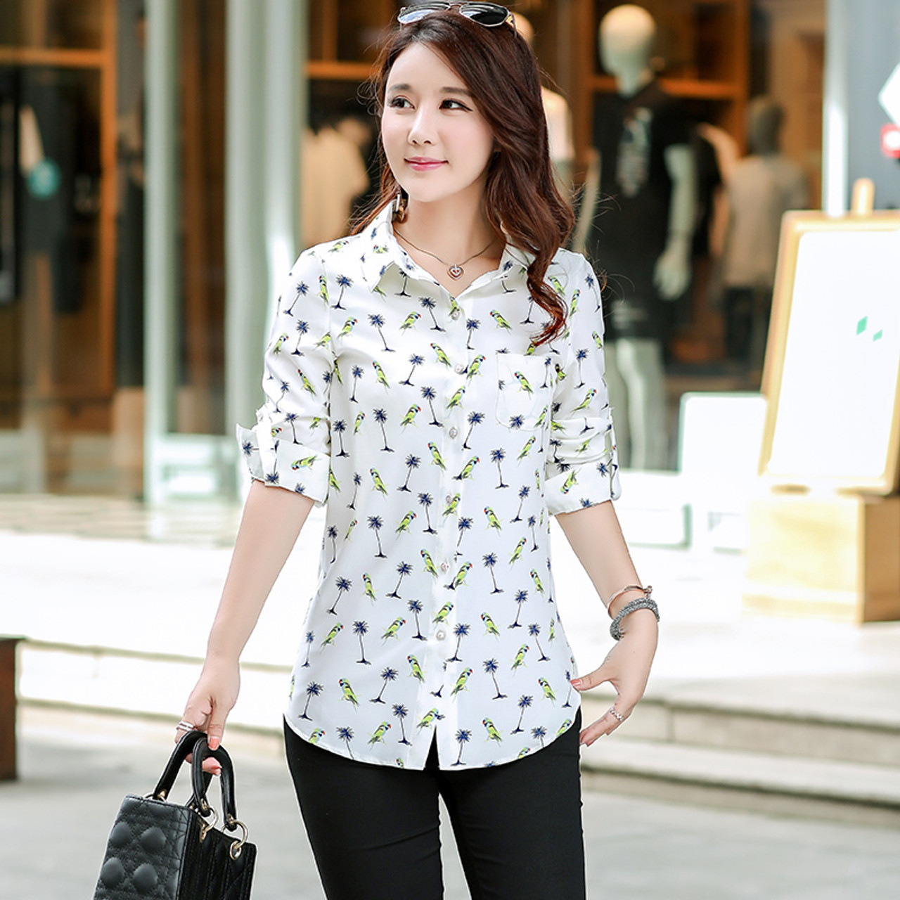 5fd4200be8e16 ... New Fashion Print Blouses Women Long Style Shirts 2018 Cotton Ladies  Tops Long Sleeve Blusas Femininas