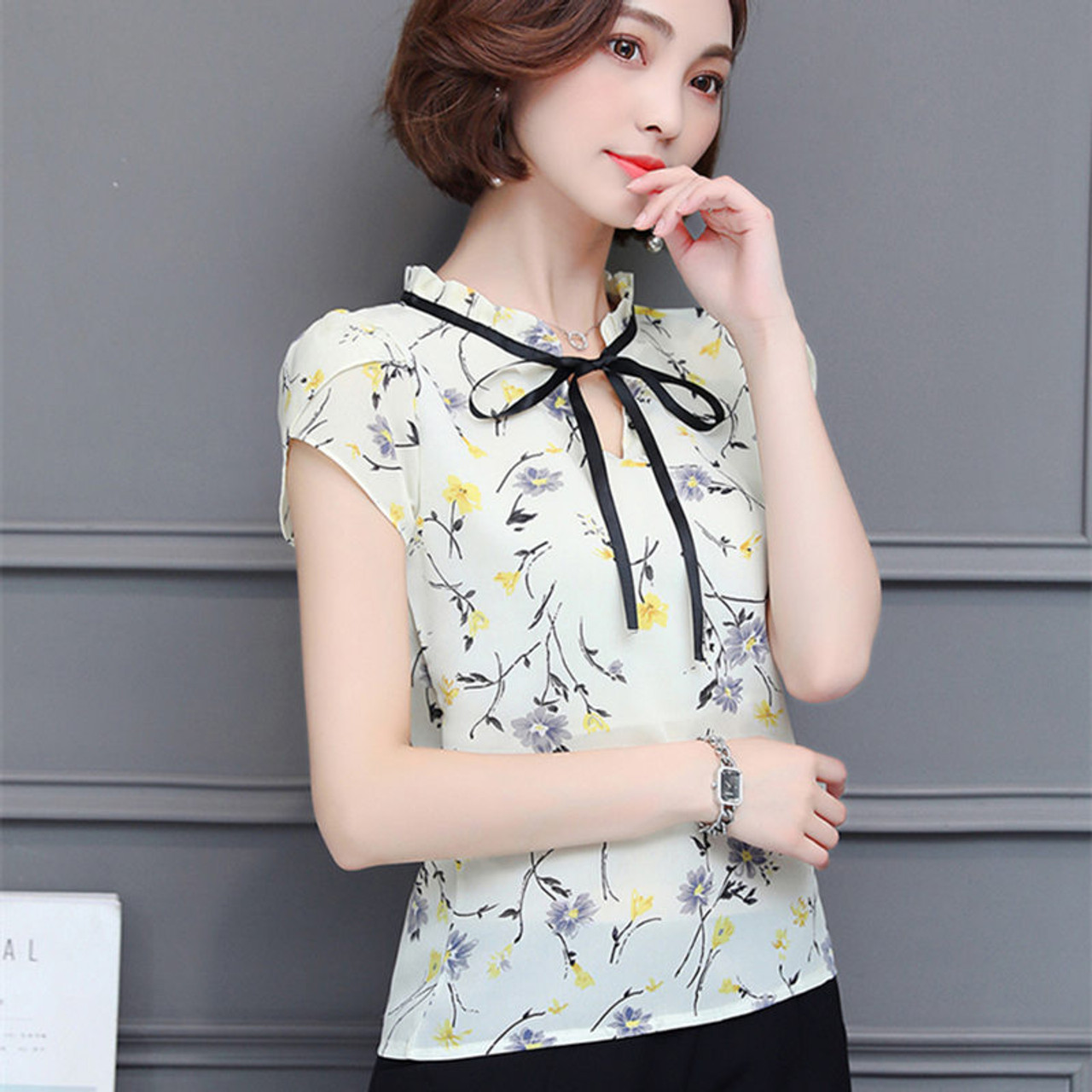 462ddabce5d398 ... New 2018 Floral Chiffon Blouses Women Summer Tops And Shirts Bow Sweet Blouse  Female Short Sleeve ...