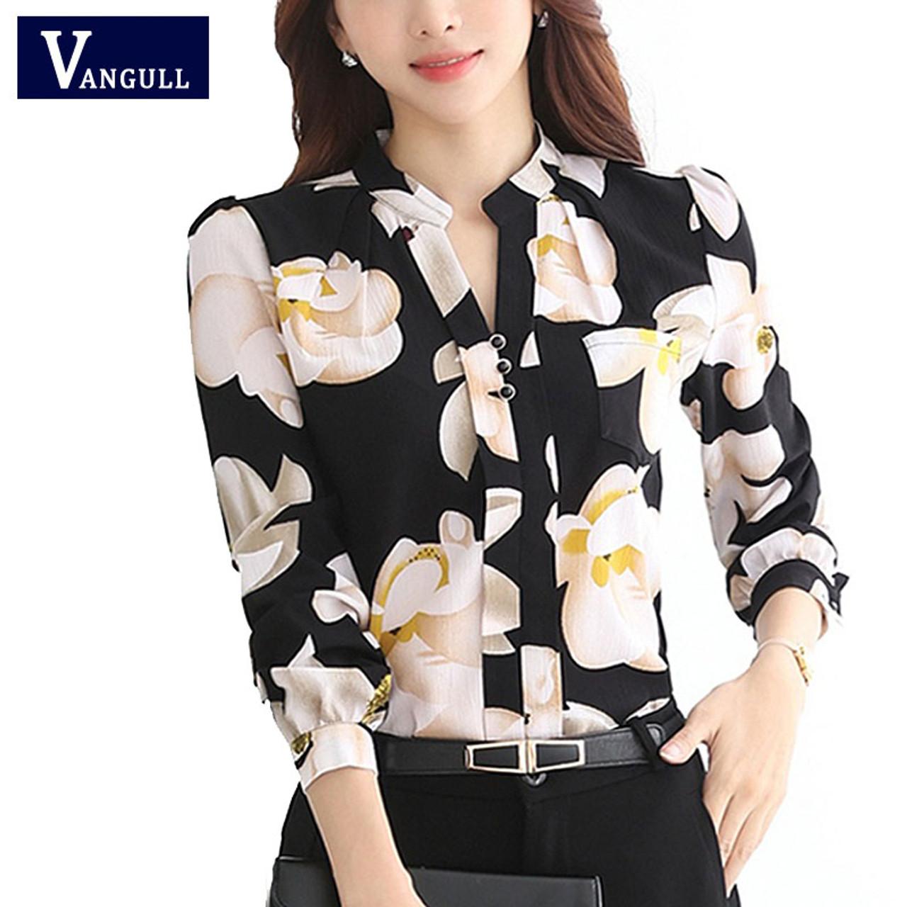 03dc7e598e393b ... VANGULL New Style Lady White Shirts Formal Work Blouse Size Korean Women  Printed Shirts Chiffon Blouse ...
