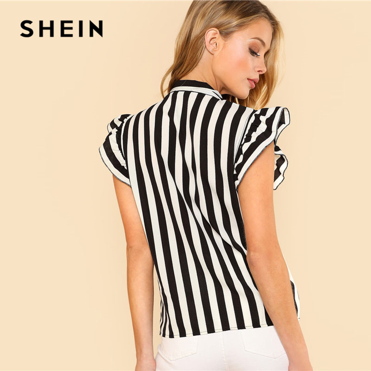 3ac05778198e17 ... SHEIN Summer Top Elegant Work Women Blouses Cap Sleeve Black and White  Tie Neck Butterfly Sleeve ...