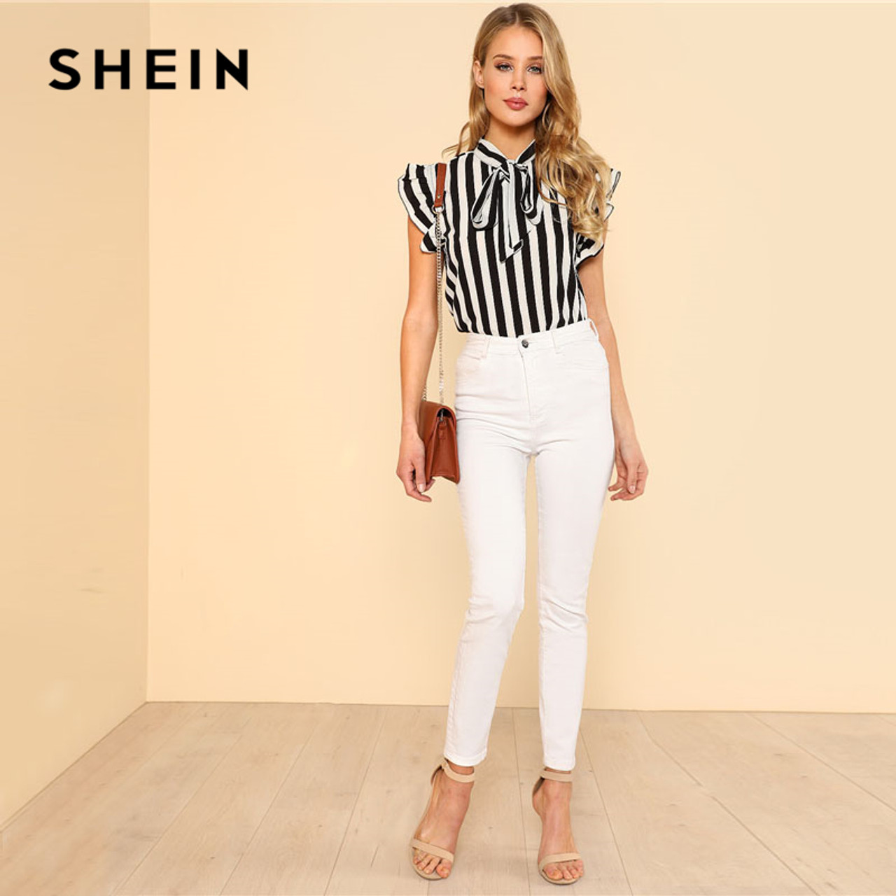 4cb0d821b9 ... SHEIN Summer Top Elegant Work Women Blouses Cap Sleeve Black and White  Tie Neck Butterfly Sleeve ...
