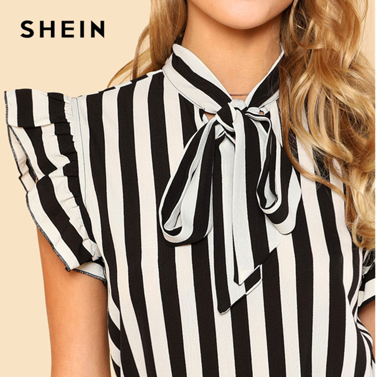 4ee74aeb55 ... SHEIN Summer Top Elegant Work Women Blouses Cap Sleeve Black and White  Tie Neck Butterfly Sleeve