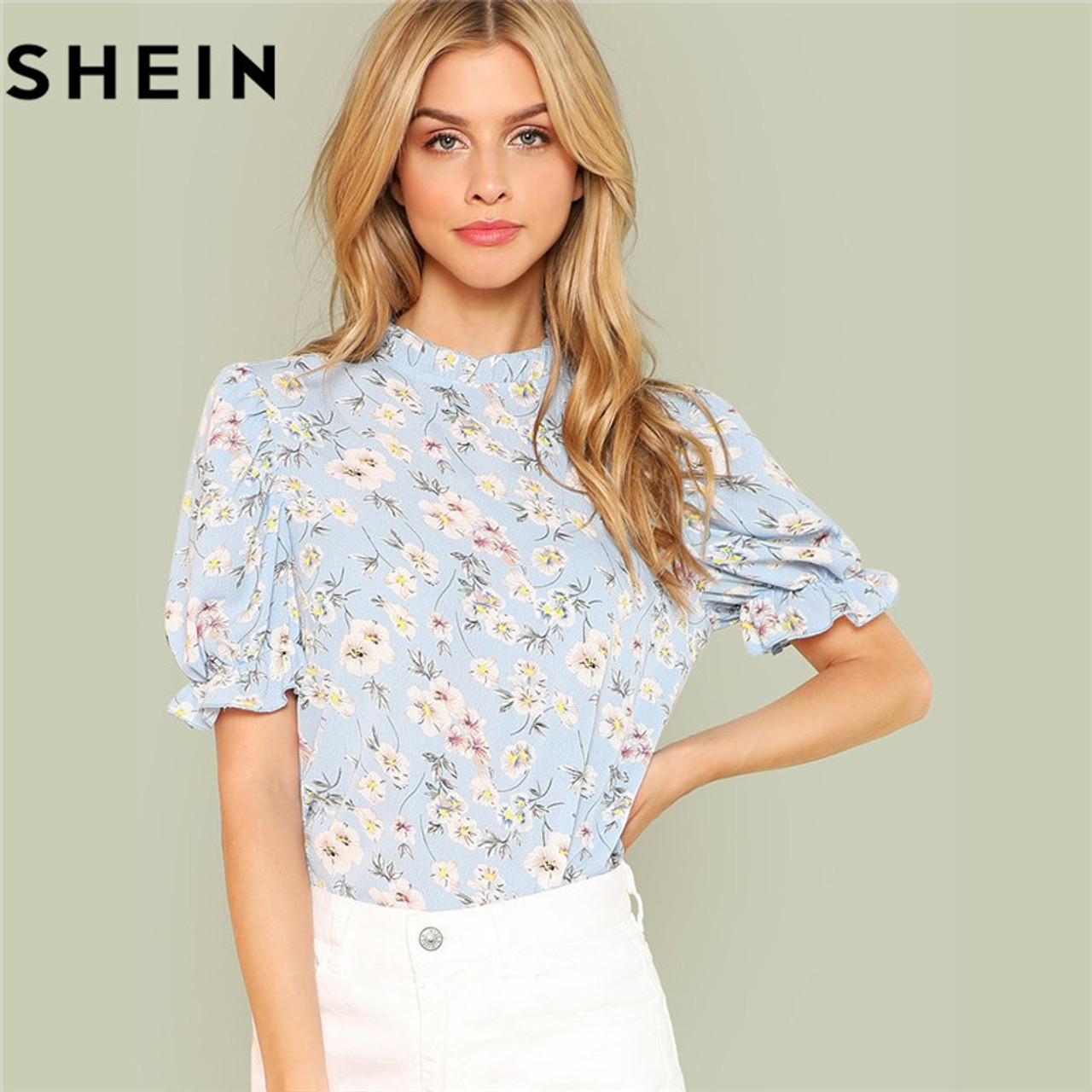 0ea33064af SHEIN Office Lady Tops Ruffle Floral Blue Blouses 2018 New Women Summer  Casual Short Puff Sleeve ...