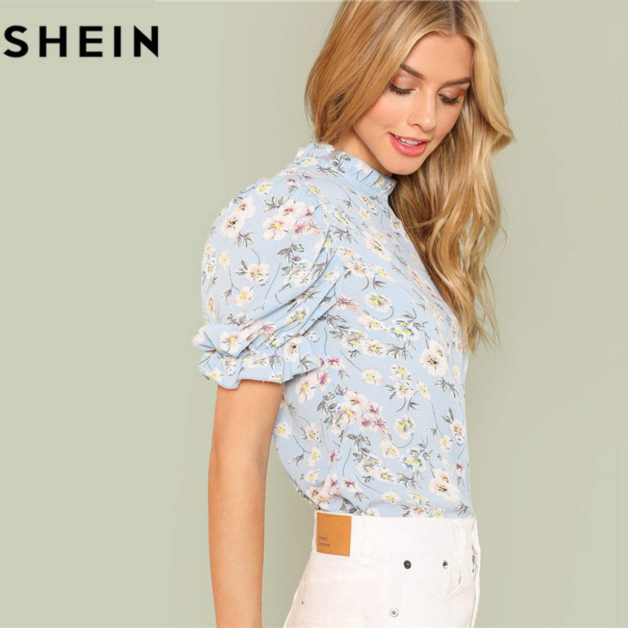 2b53326ccf ... SHEIN Office Lady Tops Ruffle Floral Blue Blouses 2018 New Women Summer  Casual Short Puff Sleeve ...
