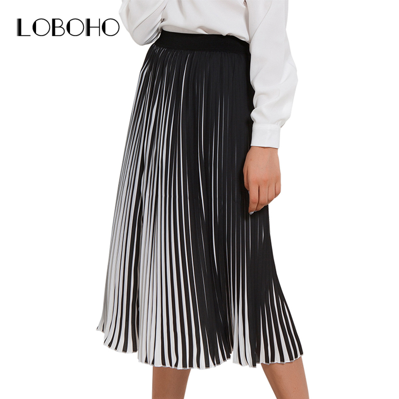 85fa8722a6e Casual Pleated Skirts Womens Spring 2018 New Fashion Chiffon Long Skirt  Black And White Striped Elastic ...