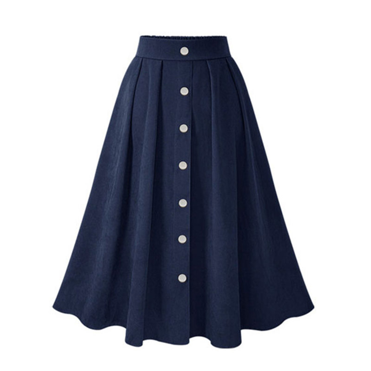 0fd6d70ee1d9 ... HDY Haoduoyi Pleated Skirts Button High Waist Elastic Mid Skirt Korean Style  Women Skirts Fashion New ...