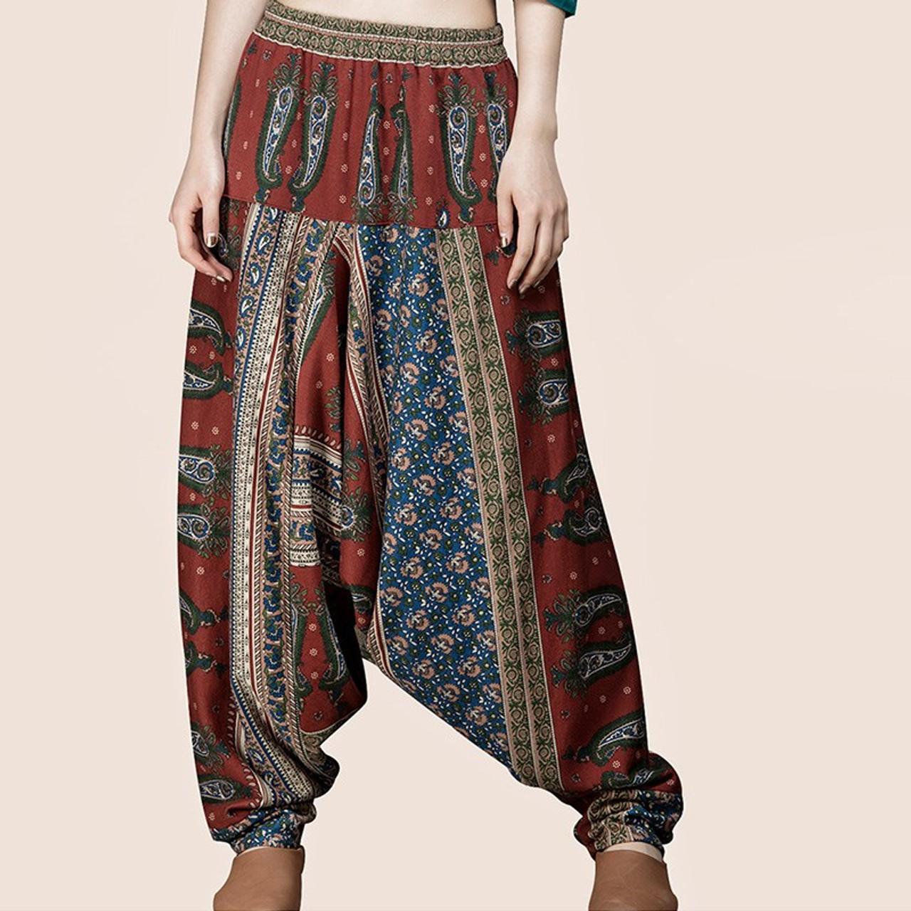 b95b2bd2803 CELMIA Vintage Baggy High Elastic Waist Drop-Crotch Pantalons Women Retro  Leisure Ethnic Printed Cotton Linen Long Harem Pants - OnshopDeals.Com