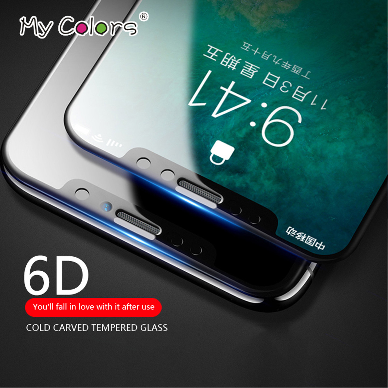 more photos 1dcb8 b8b77 My Colors 6D Curved Edge Tempered Glass For iPhone X glass 9H Hardness Full  Cover iphone X Screen Protector HD Film