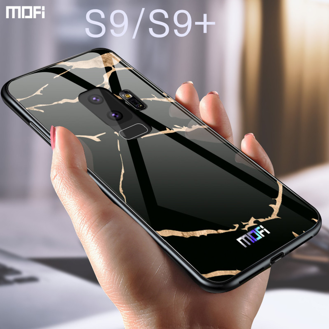huge discount 0771f b7793 For samsung s9 case Mofi for samsung s9 plus case glass hard case for  samsung s9 marble grain black white for galaxy s9 plus