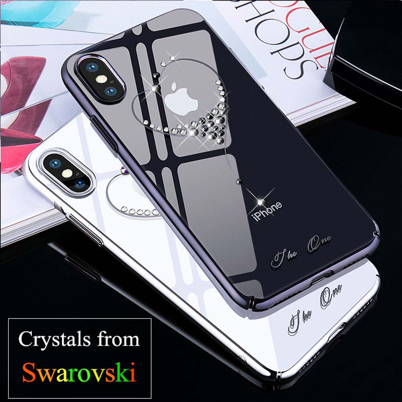 KINGXBAR for iPhone X 10 Case Crystals From Swarovski PC Hard Crystal Diamond Rhinestone Case for 20327.1529048017