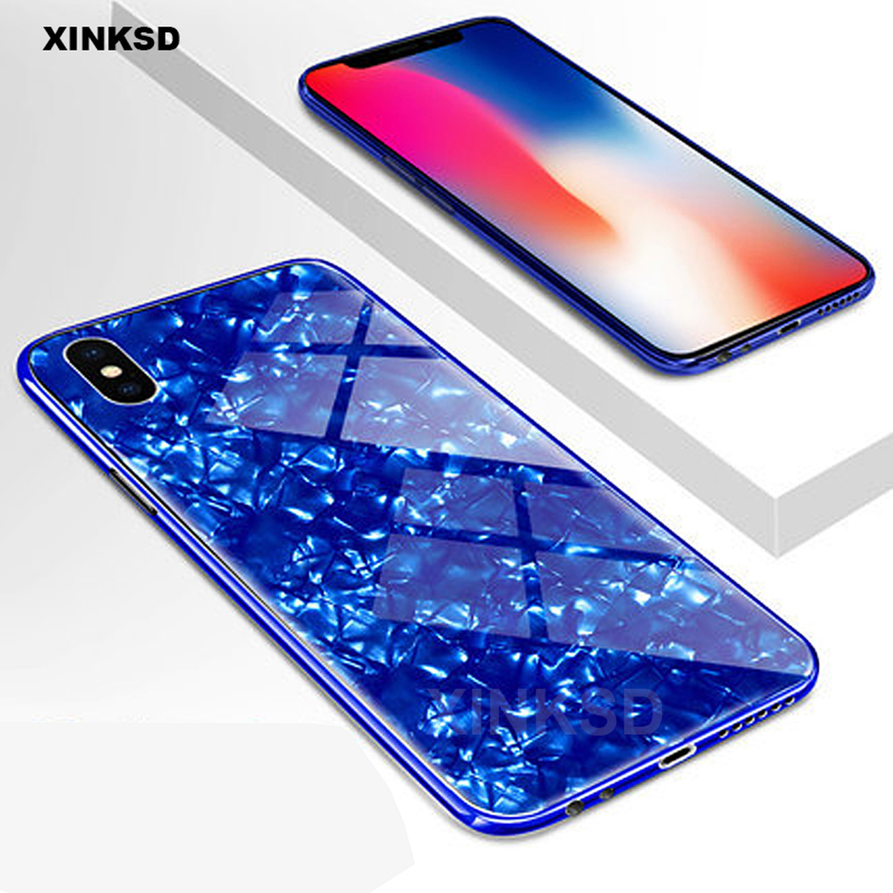 2cee500abe3 ... Luxury Tempered Glass Case For iPhone X 6 7 8 case Explosion-proof Marble  pattern ...