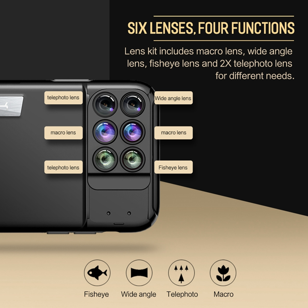 the best attitude fd693 e406f Camera Lens Phone Case for iPhone X, ROCK Professional Telephoto/ Wide  Angle/ Macro/ Fisheye Lens 6 in 1 for iPhone X Lens Case