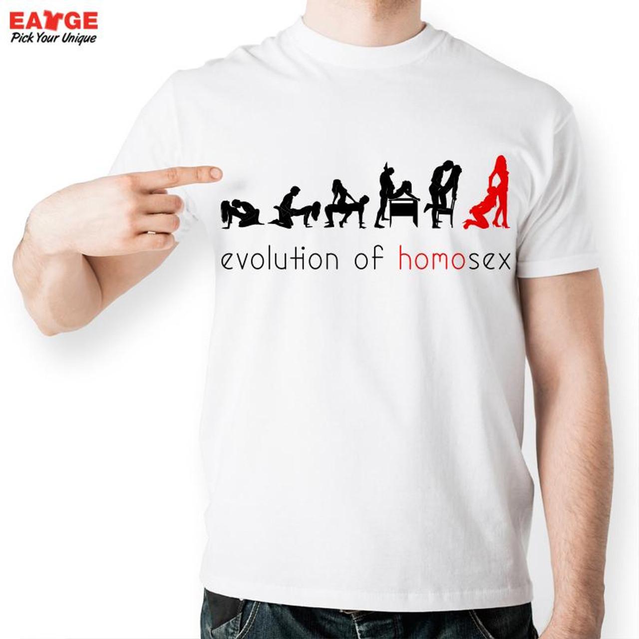 New Men Sexy Design T Shirt Fashion White Print Short Sleeve O Neck Sex Love Evolution Boy T Shirt Funny Homo Summer T Shirts Onshopdeals Com