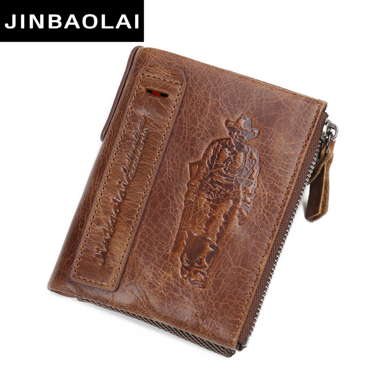 1708a032354d 100% Genuine Leather Double Zipper Male Wallet Small MINI Men Wallet  Portomonee Design With Coin Purse Pocket Brand Carteira men