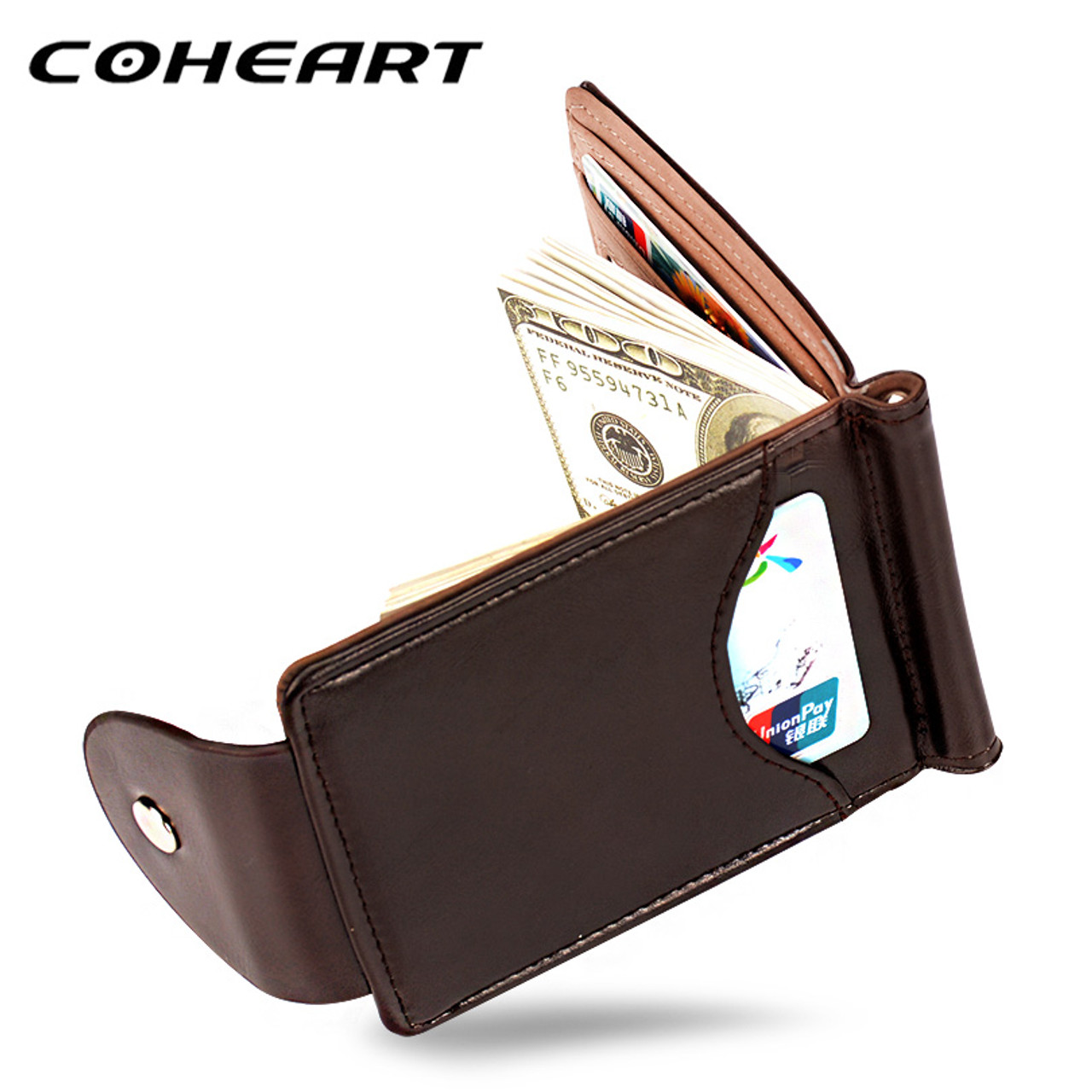 bd4ced35eb COHEART Top Quality Wallet Men Money Clip Mini Wallets Male Vintage Style  Brown Grey Hasp Purse Leather Card Holers with Clamp