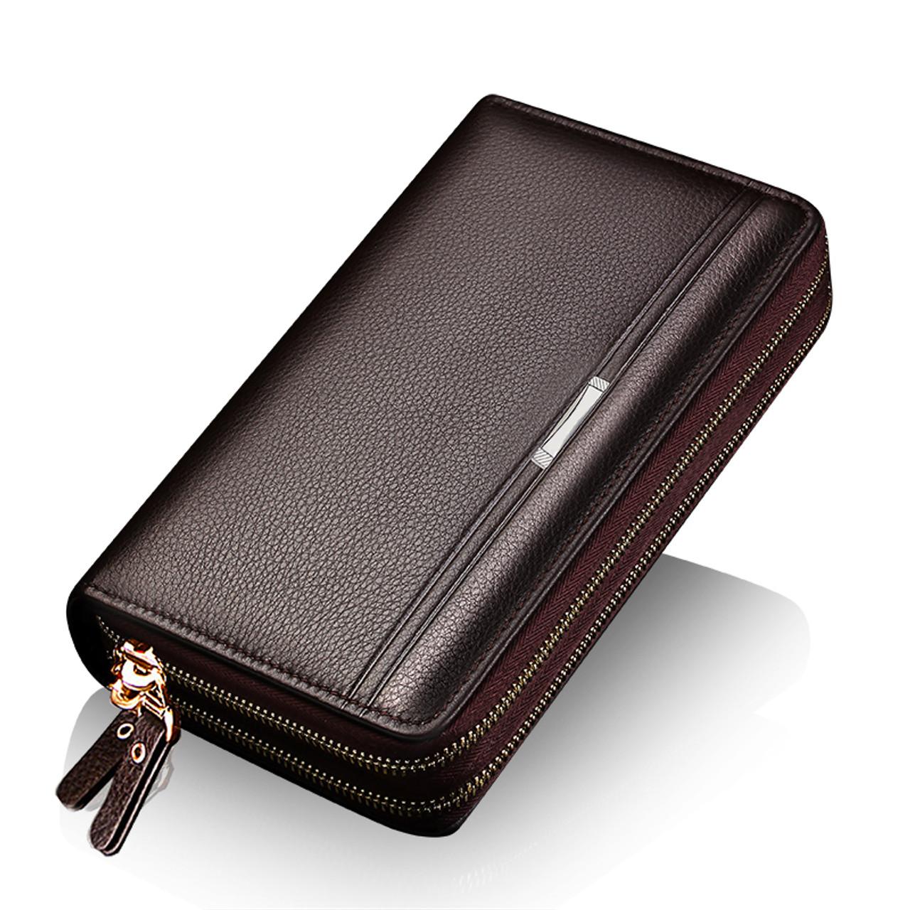 9096b8ef9ed ... FEIDIKABOLO Double Zipper Men Clutch Bags PU Men's Leather Wallet Men  Handy Bag Male Long Wallets ...