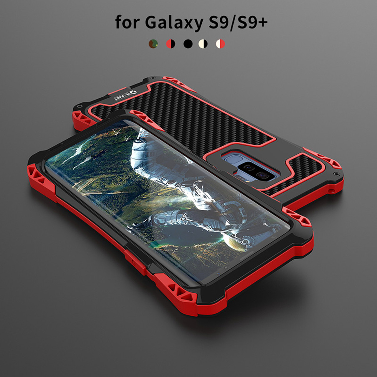 the best attitude 8dfc7 13355 For Samsung S9 case Samsung Galaxy S9 plus Case Cover Shockproof Carbon  Fiber Aluminum Metal Armor Case For Galaxy S9 Silicone