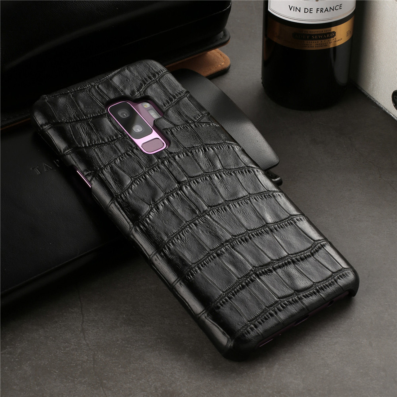 the latest f1850 b4f9d Luxury brand back cover leather For samsung galaxy s9 plus case phone s9  cases and covers shell
