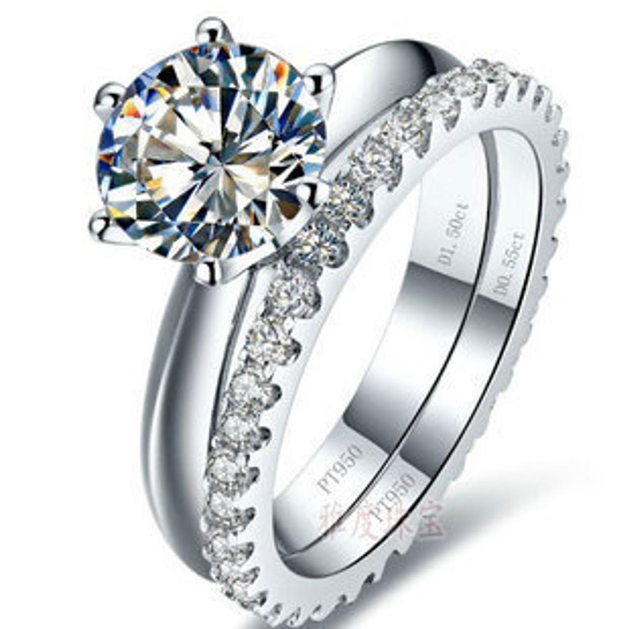 296443373 ... Luxury quality 2 Carat SONA synthetic stone wedding ring set,bridal  set, engagement ring ...
