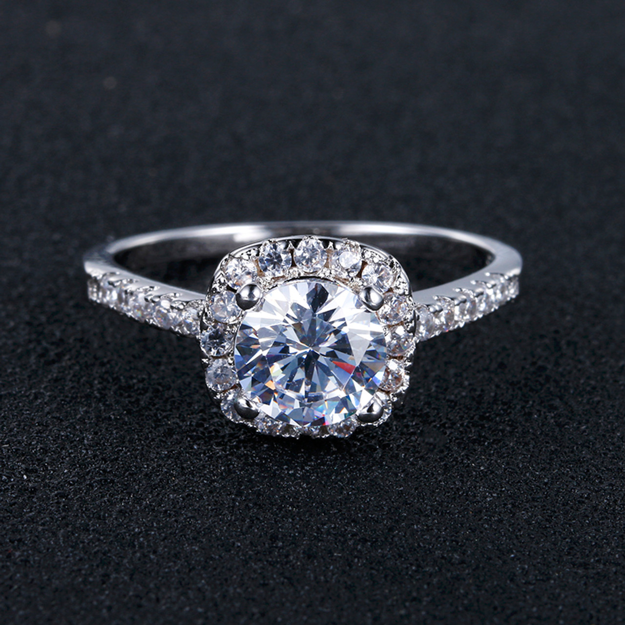 a16dab8460 ... CC Jewelry Sterling-silver-jewelry Square Ring Engagement Wedding Rings  for Women Vintage Anillo ...