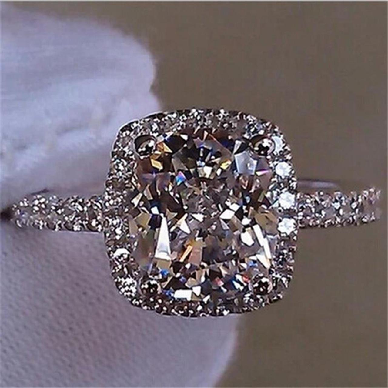 5e0dbda174e ZN Fashion Rings Show Elegant Temperament Jewelry Womens Girls White Silver  Filled Wedding Ring ...