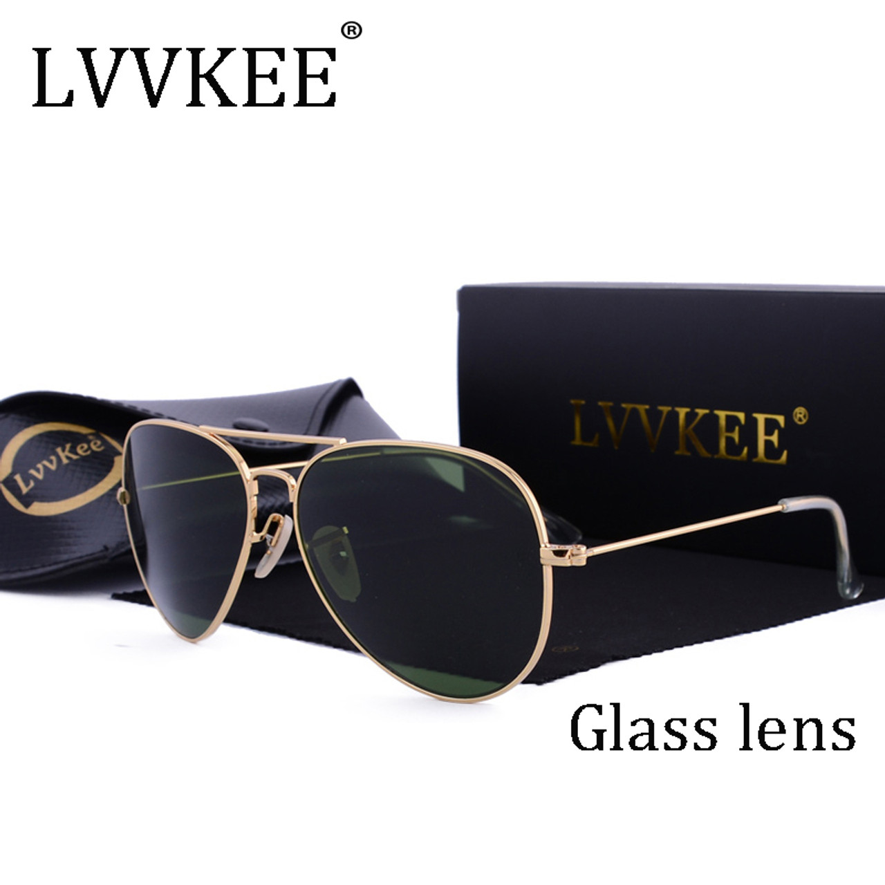 f4d6a3c62f2 LVVKEE brand designer top quality Aviator glass lenses sunglasses Men women  brown G15 Gradient 58mm lens ...