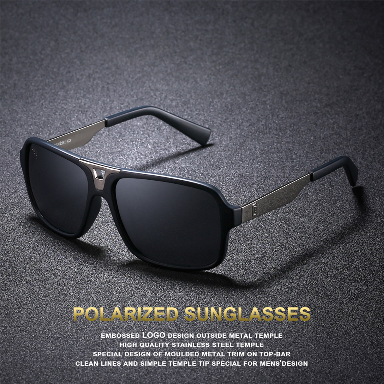 b917051e3a ... FENCHI Design Sunglasses Men Polarized Square Retro New Driving Vintage  Fashion Fishing Oculos De Sol Sun ...
