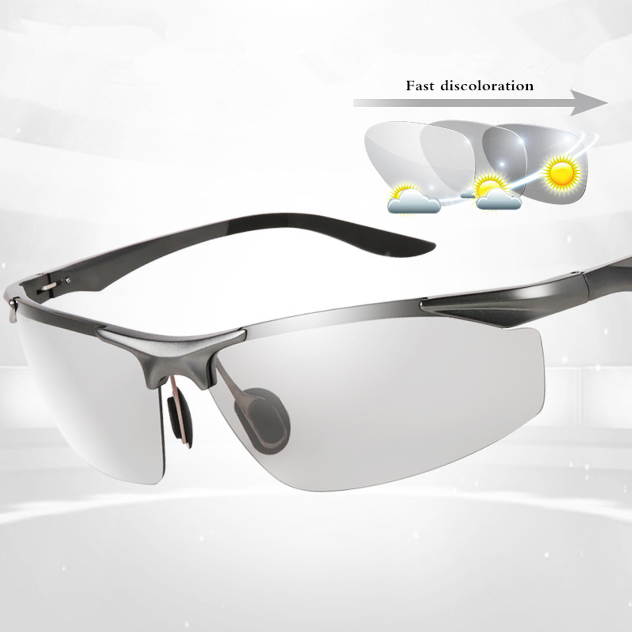 3554fa5e0c ... 2018 new fashion photochromic HD Polarized men sunglasses aluminium  magnesium frame driving fishing sports anti UV ...