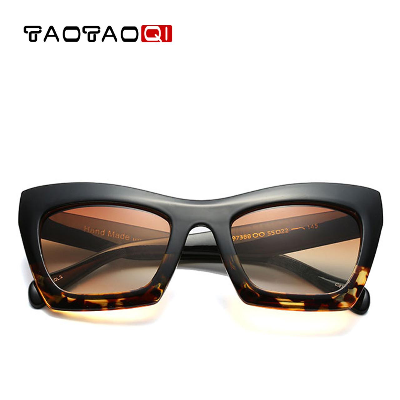 c7e8b1dd613 TAOTAOQI Square Cat eyewear Women s Sunglasses Fashion Sunglasses Women  Brand Designer UV400 Large Frame Glasses Women ...