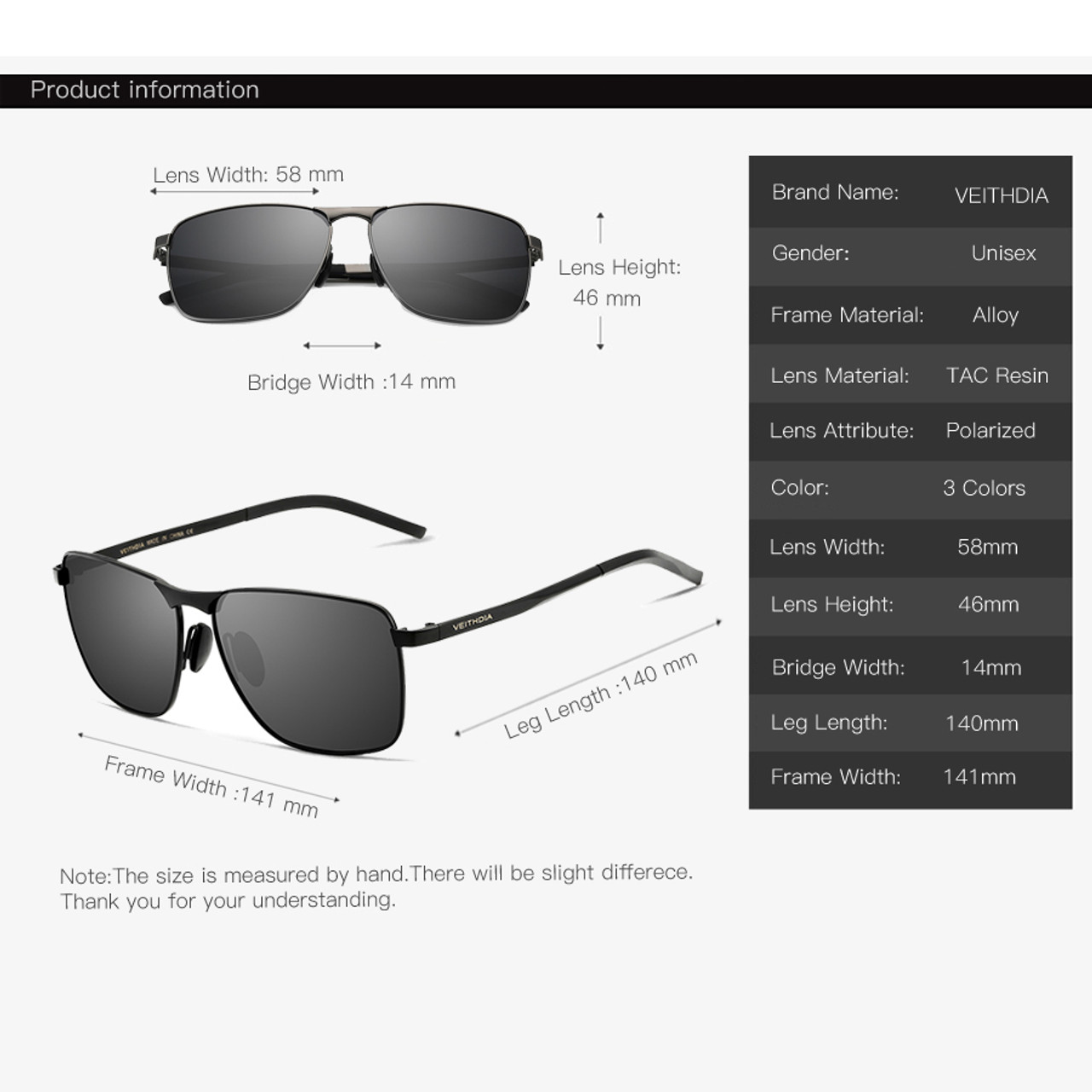 8e5d9f0733b ... Veithdia 2018 Brand Designer Fashion Square Sunglasses Mens Polarized  Coating Mirror Sun Glasses Eyewear Accessorie For ...