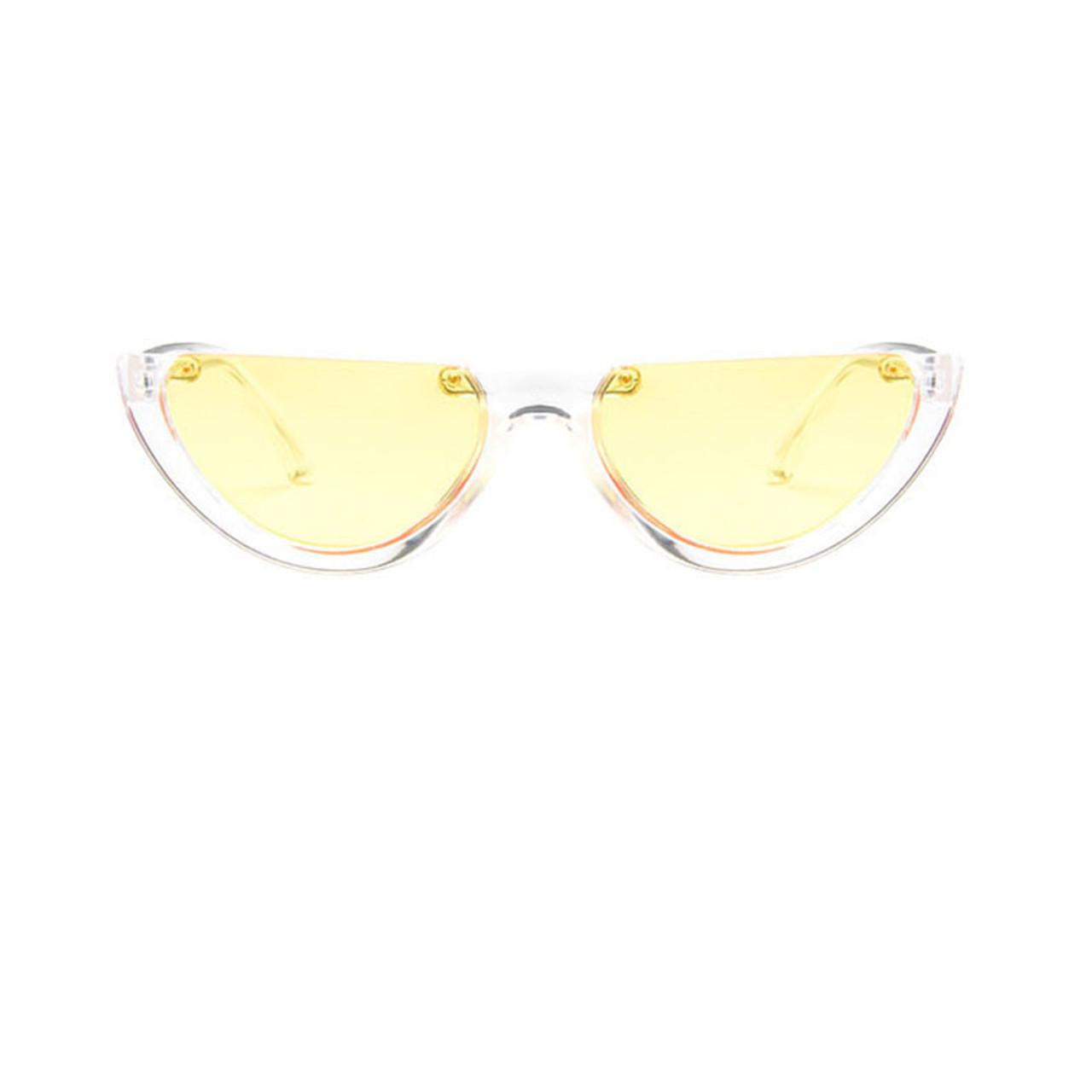 e76f8d2d11a ... Sunglasses Cool Trendy Half Frame Rimless Cat Eye Sunglasses Women 2018  Fashion Clear Brand Designer Sun ...