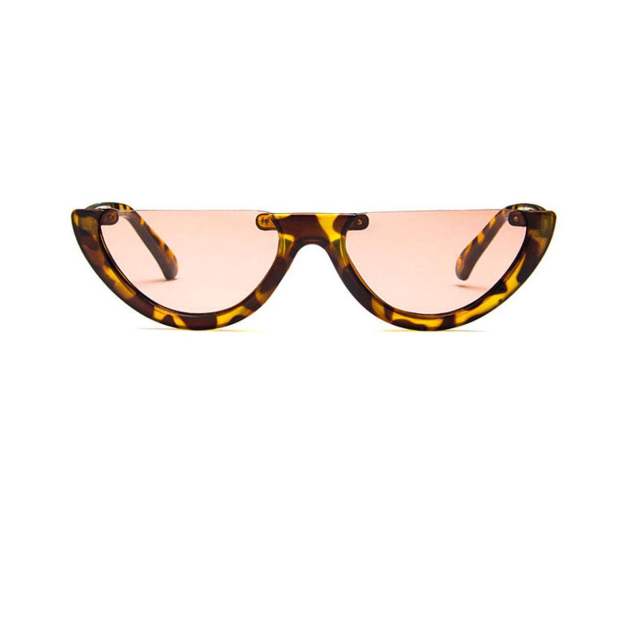 fd27e581c7 ... Sunglasses Cool Trendy Half Frame Rimless Cat Eye Sunglasses Women 2018  Fashion Clear Brand Designer Sun ...
