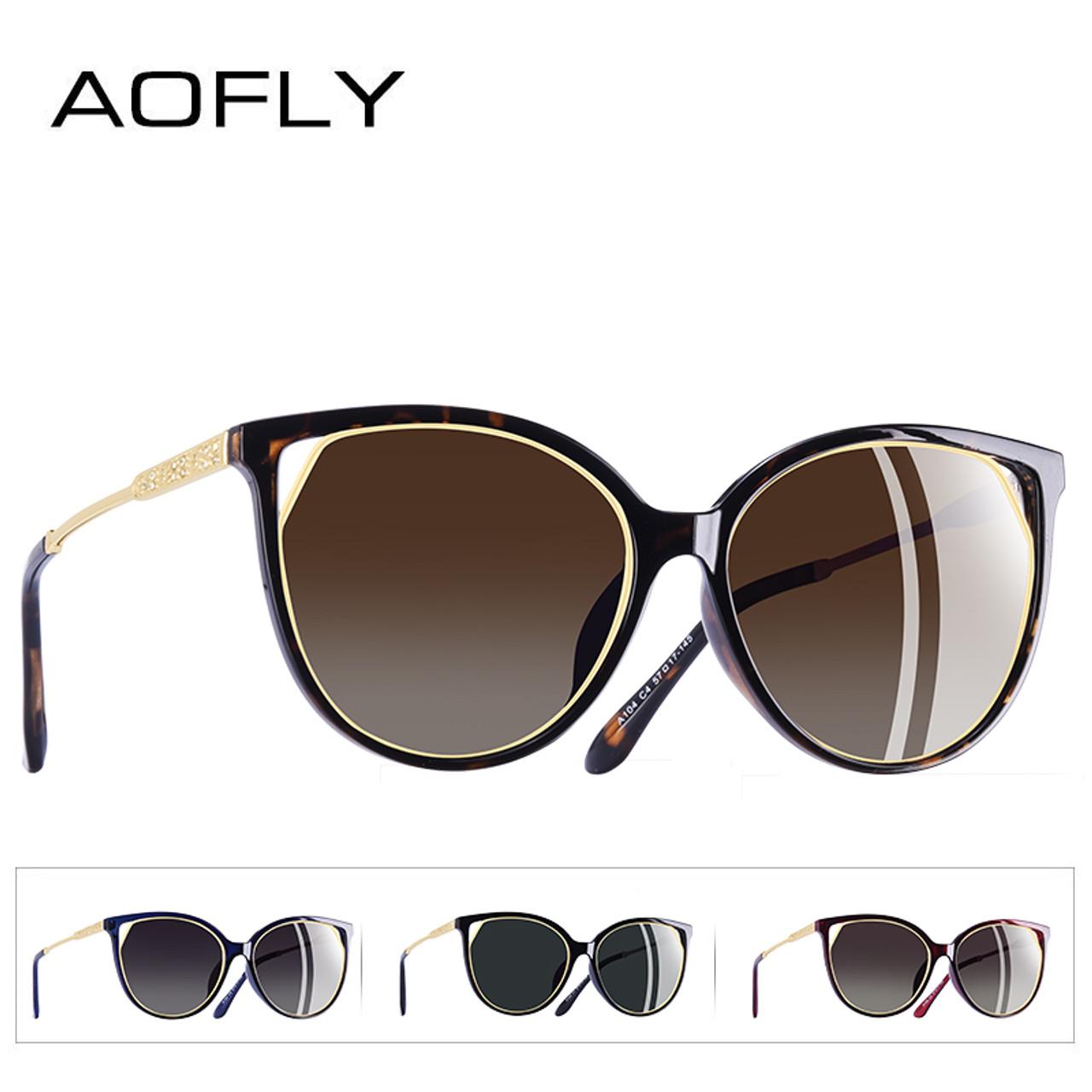 b5a7cf3d0a3 ... AOFLY BRAND DESIGN Fashion Sunglasses 2018 Polarized Cat Eye Sun Glasses  For Women Rhinestone Temple UV400 ...