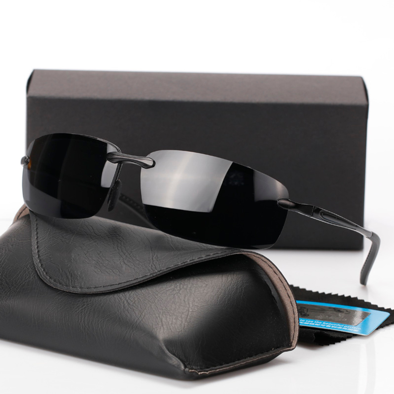 991c5cfaf67 2018 New Rimless Sunglasses Polarized Men Brand Designer Driving Sun Glasses  Goggle For Men oculos de ...