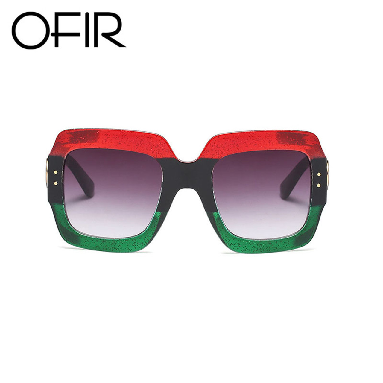 80ff69b5e9 ... OFIR 2018 Newest Oversized Square Sunglasses Women Luxury Brand  Designer Red Green Sun Glasses Female Vintage ...